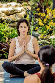 Client Meditating in the Courtyard