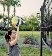 Clients Playing Volleyball